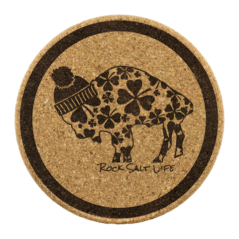 Lucky Buffalo Rock Salt Life© Round Cork Coasters