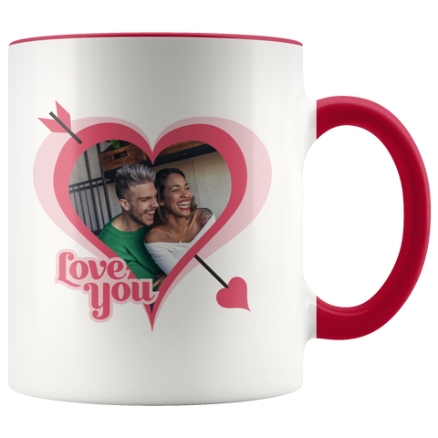 """Love you"" personalized cupid's arrow mug"