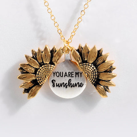 You are my sunshine Sunflower Locket Necklace