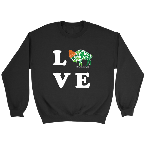 White Lettered Lucky in BuffaLove Rock Salt Life© Crewneck Sweaters
