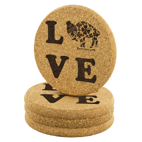 Lucky in BuffaLove Rock Salt Life© Round Cork Coasters