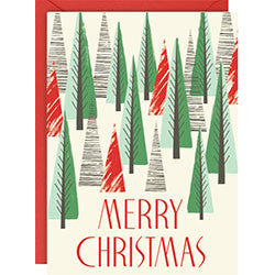 Set of 10 Merry Christmas Triangle Trees A6 Holiday Cards