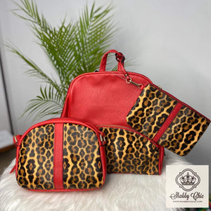 3 Piece Red and Leopard Backpack Shabby Chic Boutique and Tanning Salon
