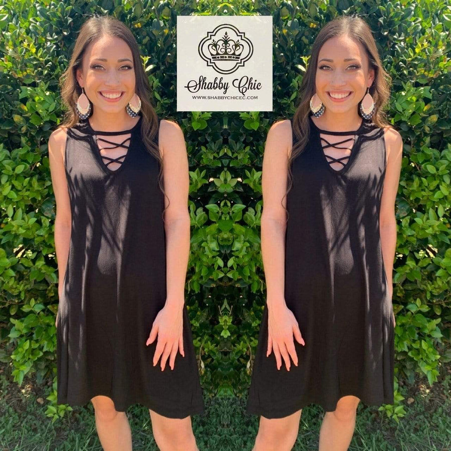 Black Criss Cross Summer Dress Shabby Chic Boutique and Tanning Salon