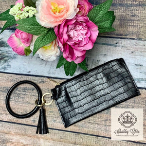 Black Croc Zip Key Ring Wallet Shabby Chic Boutique and Tanning Salon