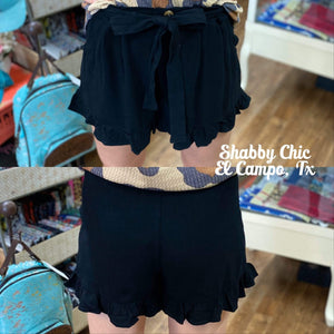 Black ruffle bottom shorts Shabby Chic Boutique and Tanning Salon