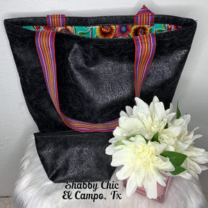 Black Tooled Tote Shabby Chic Boutique and Tanning Salon