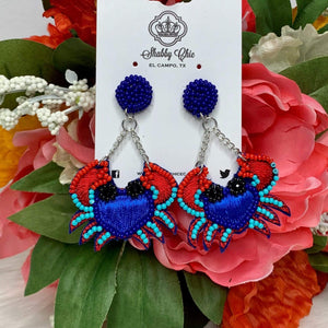 Blue Crab Statement Earrings Shabby Chic Boutique and Tanning Salon