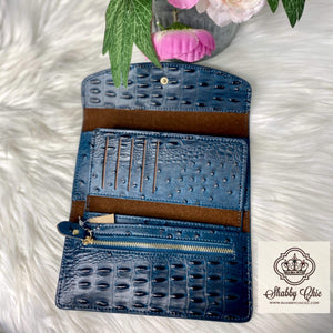 Blue Ostrich TriFold Wallet Shabby Chic Boutique and Tanning Salon