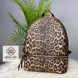 Brown Leopard Backpack Shabby Chic Boutique and Tanning Salon