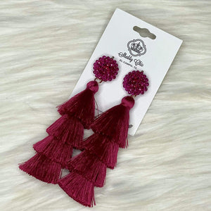 Burgundy Cha Cha Earrings Shabby Chic Boutique and Tanning Salon