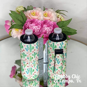 Cactus Print Water Bottle Koozie Shabby Chic Boutique and Tanning Salon