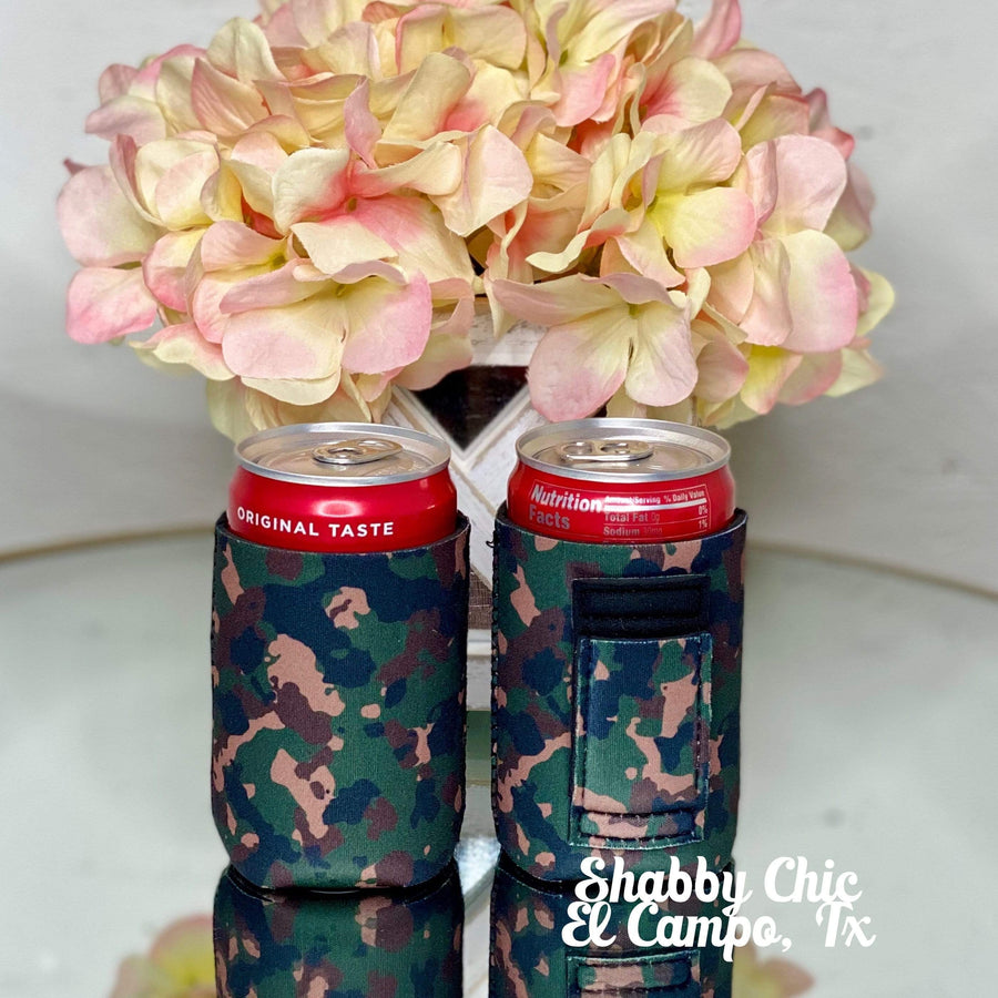 Camo MINI Can Koozie 8 oz cans Shabby Chic Boutique and Tanning Salon