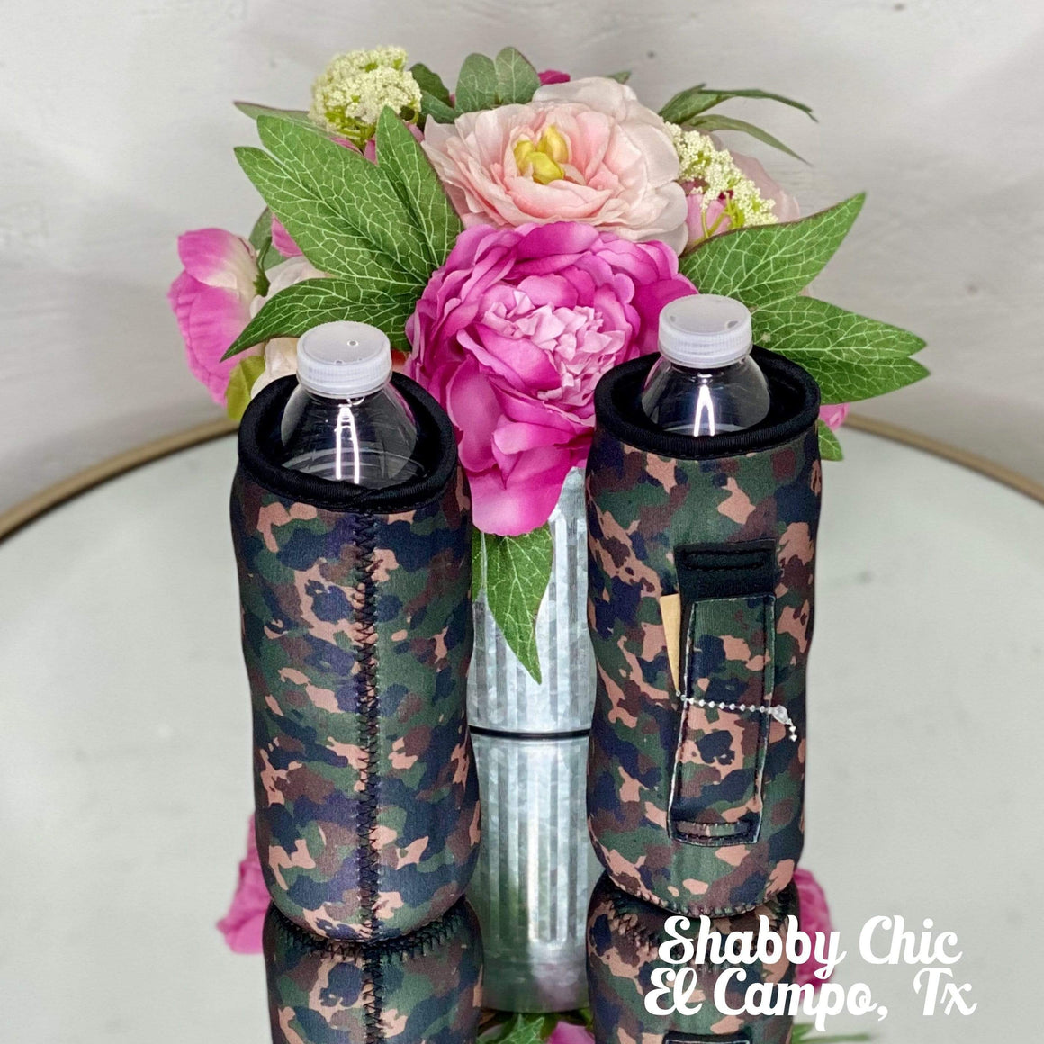 Camo Water Bottle Koozie Shabby Chic Boutique and Tanning Salon