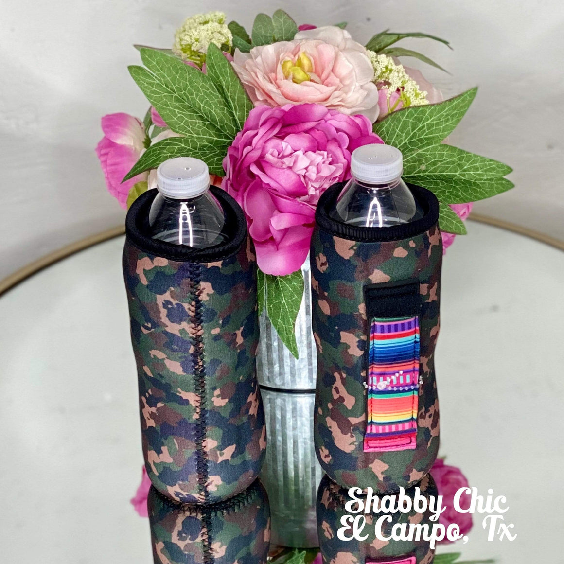 Camo with Serape handle Water Bottle Koozie Shabby Chic Boutique and Tanning Salon