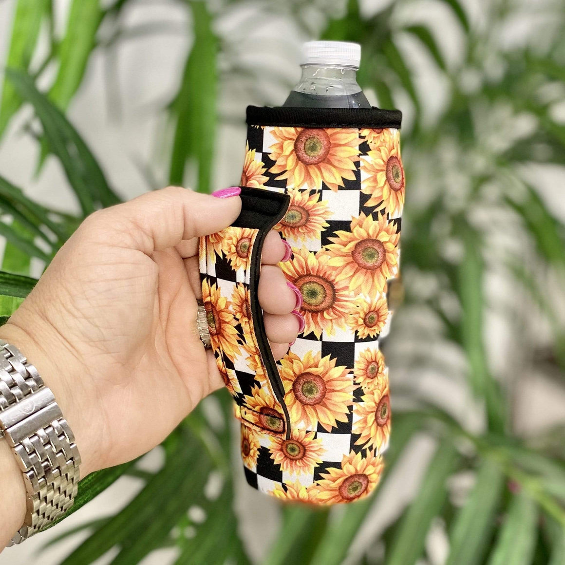 Checkered Sunflower Water Bottle Koozie Shabby Chic Boutique and Tanning Salon