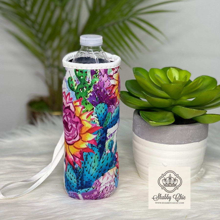 Colorful Cactus Water Bottle Koozie Shabby Chic Boutique and Tanning Salon