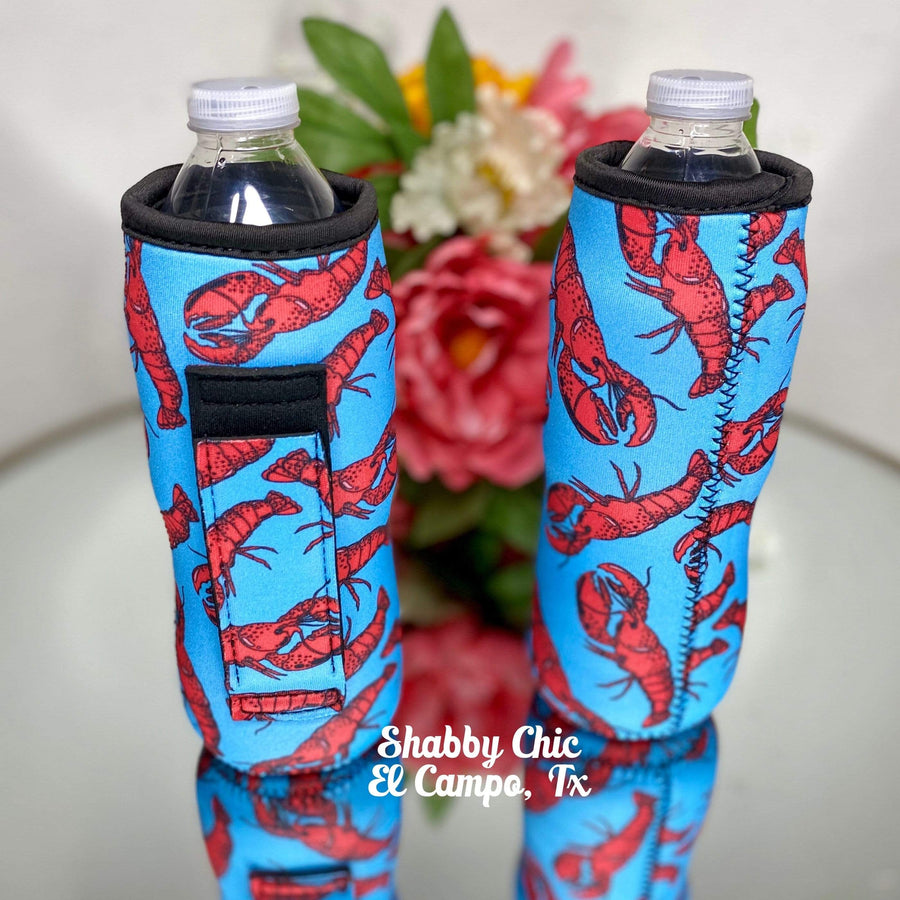 Crawfish Water Bottle Koozie Shabby Chic Boutique and Tanning Salon