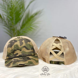 Distressed Camo Criss Cross Trucker Cap Shabby Chic Boutique and Tanning Salon