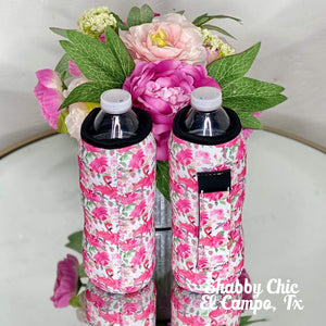 Flamingo and Roses Water Bottle Koozie Shabby Chic Boutique and Tanning Salon