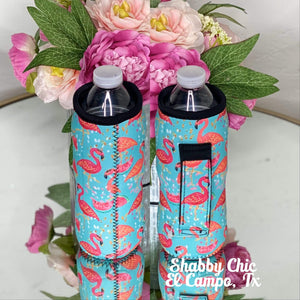 Flamingo Water Bottle Koozie Shabby Chic Boutique and Tanning Salon