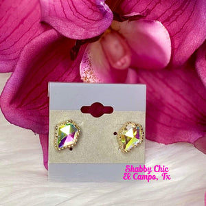Free Style Gold Stud Earrings iridescent stone Shabby Chic Boutique and Tanning Salon