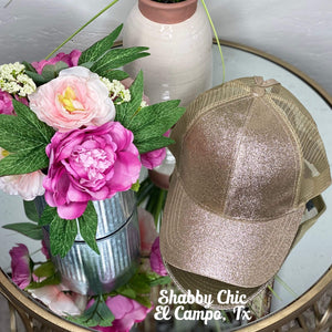 Gold Glitter Cap Shabby Chic Boutique and Tanning Salon