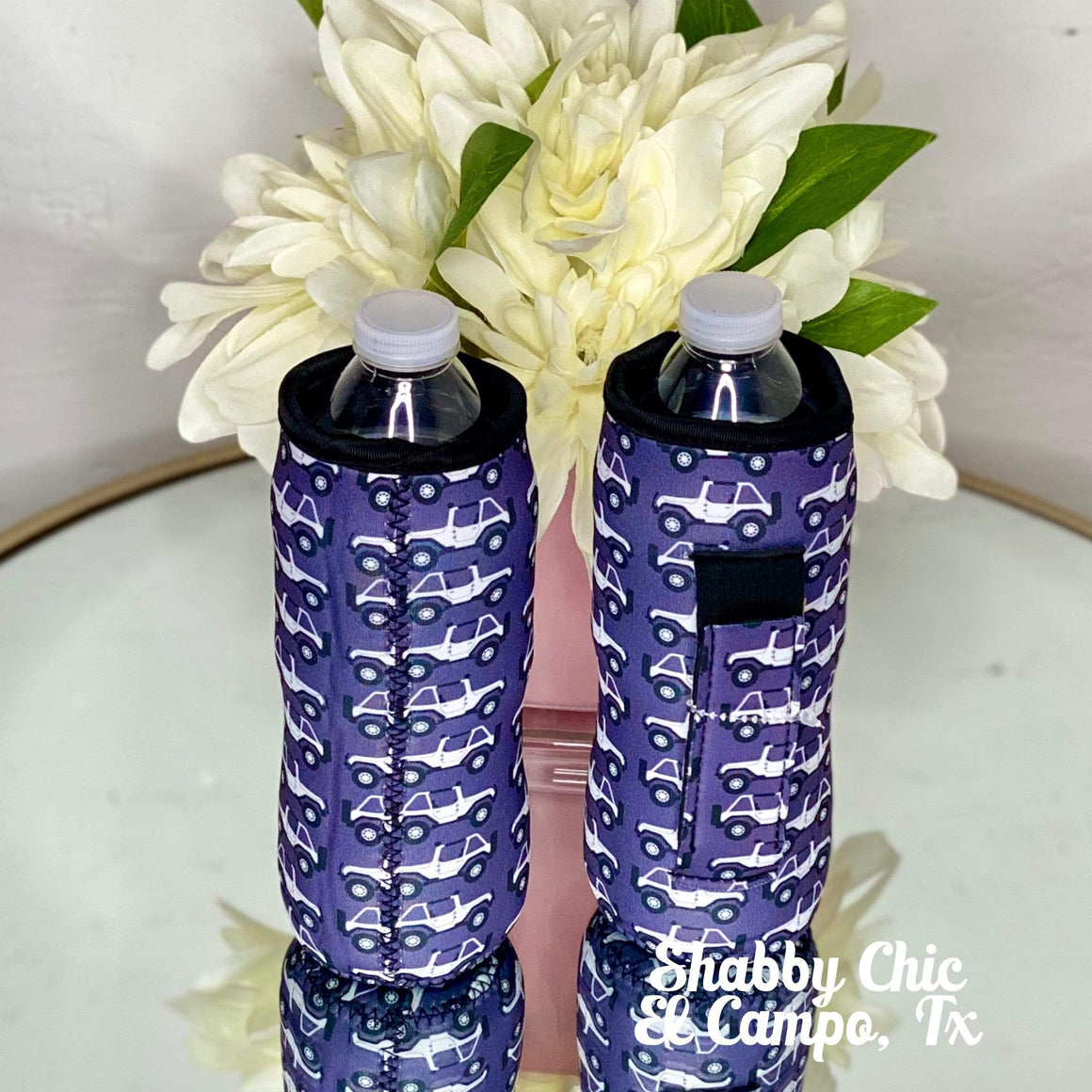 Jeep Water Bottle Koozie Shabby Chic Boutique and Tanning Salon