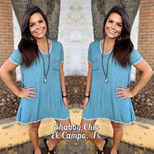 Jobie Dress - Distressed Turquoise Shabby Chic Boutique and Tanning Salon