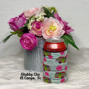Leopard Camper Koozie 12 oz Can Shabby Chic Boutique and Tanning Salon