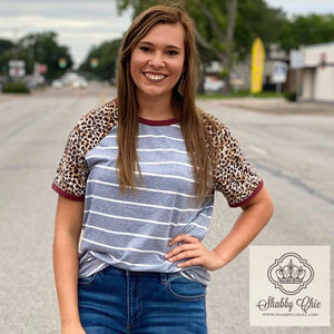 Leopard, Maroon, and Gray Stripes Top Shabby Chic Boutique and Tanning Salon