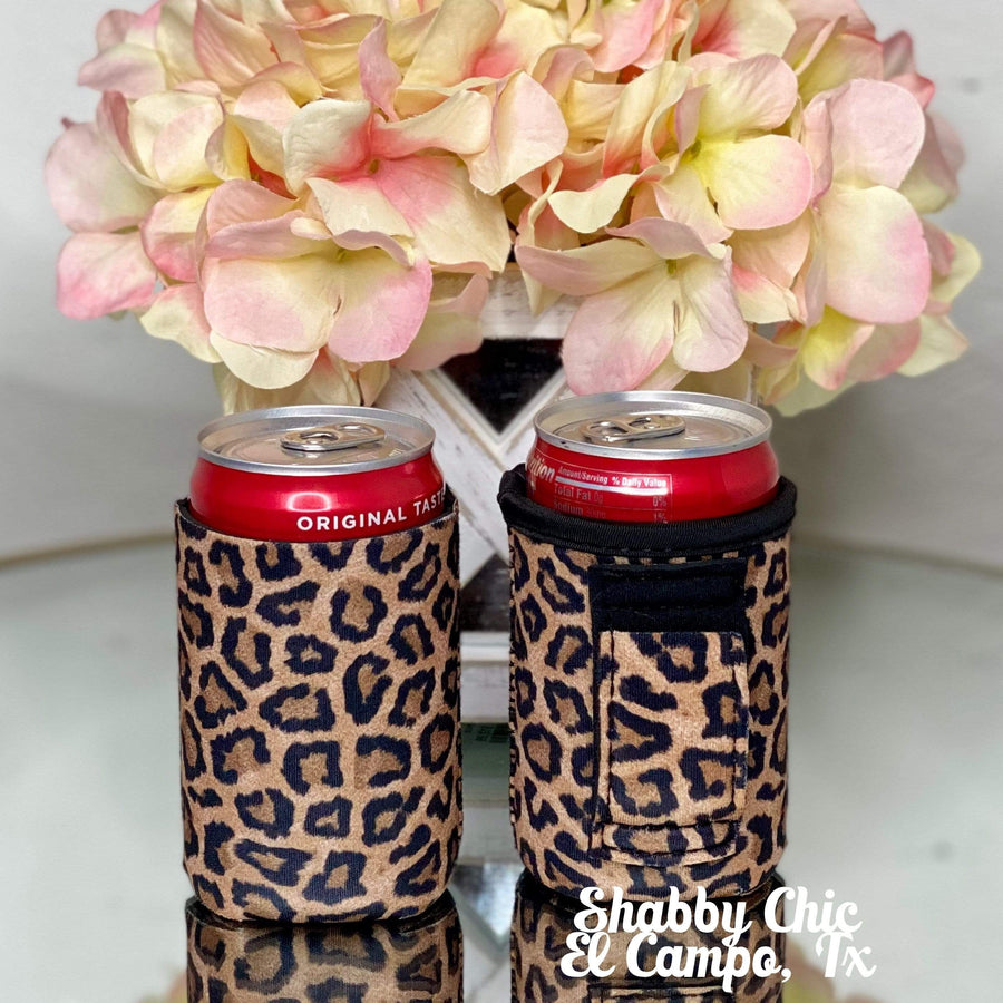 Leopard MINI Can Koozie 8 oz cans Shabby Chic Boutique and Tanning Salon