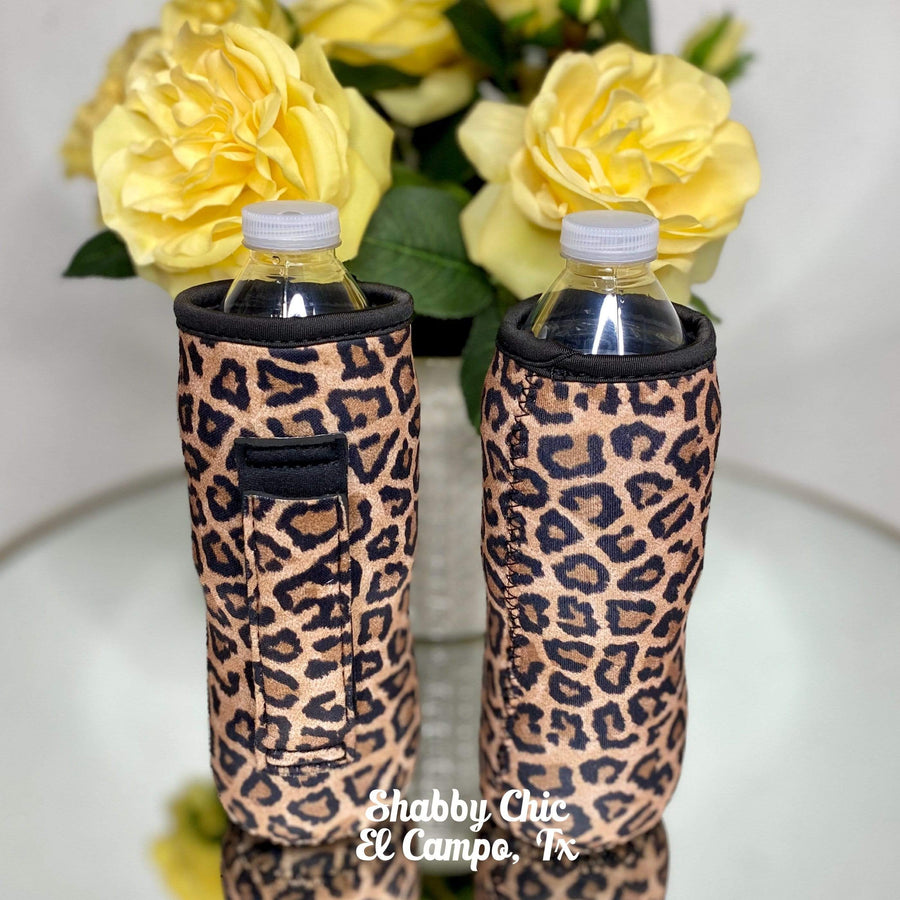 Leopard Water Bottle Koozie Shabby Chic Boutique and Tanning Salon