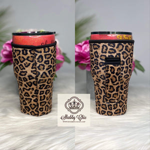 Leopard with Leopard handle Koozie for 24-30 oz Yeti™️ style Shabby Chic Boutique and Tanning Salon