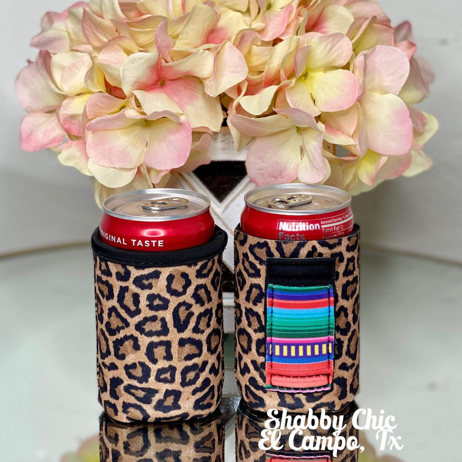 Leopard with Serape handle MINI Can Koozie 8 oz cans Shabby Chic Boutique and Tanning Salon