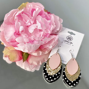 Light Pink, Gold and Dots earrings Shabby Chic Boutique and Tanning Salon