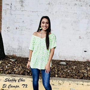 Lime Off The Shoulder Leopard Top Shabby Chic Boutique and Tanning Salon