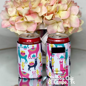 Llama MINI Can Koozie 8 oz cans Shabby Chic Boutique and Tanning Salon