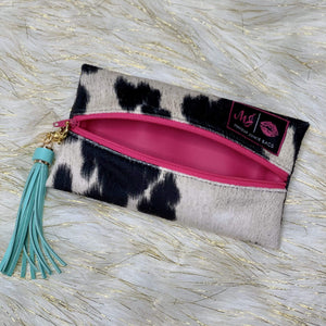 Make Up Junkie Bag - Cow Print Shabby Chic Boutique and Tanning Salon