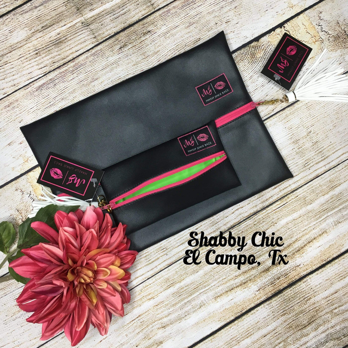 Make Up Junkie Bag - JET BLACK - HOT PINK ZIPPER - LIME INTERIOR Shabby Chic Boutique and Tanning Salon
