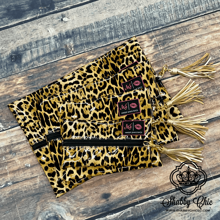 Make Up Junkie Bag - Leopard Patent Shabby Chic Boutique and Tanning Salon
