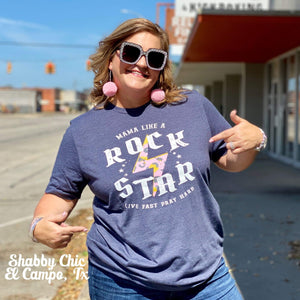 Mama Like a Rockstar Tee Shabby Chic Boutique and Tanning Salon