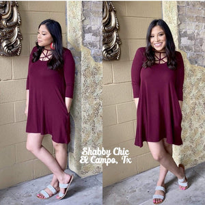 Maroon Caged Dress Shabby Chic Boutique and Tanning Salon