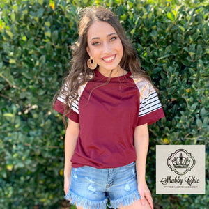 Maroon Stripes and Sequins Top Shabby Chic Boutique and Tanning Salon