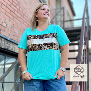 Mint and Leopard Bedazzled Top - Curvy Shabby Chic Boutique and Tanning Salon