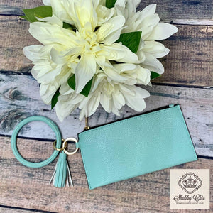 Mint Turquoise Zip Key Ring Wallet Shabby Chic Boutique and Tanning Salon