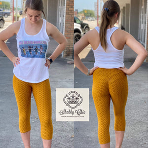 MUSTARD - High Waist Scrunch Butt Lifting Bottom Shabby Chic Boutique and Tanning Salon