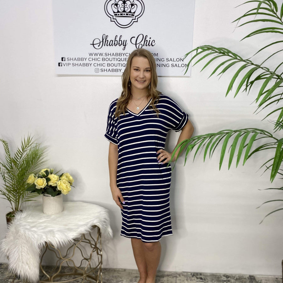 Navy and White Tee Dress Shabby Chic Boutique and Tanning Salon