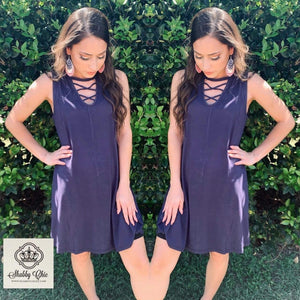 Navy Criss Cross Summer Dress Shabby Chic Boutique and Tanning Salon