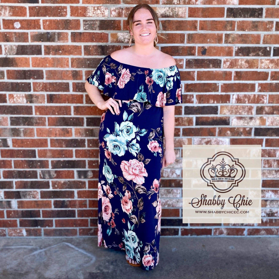 Navy Floral Maxi Dress Shabby Chic Boutique and Tanning Salon